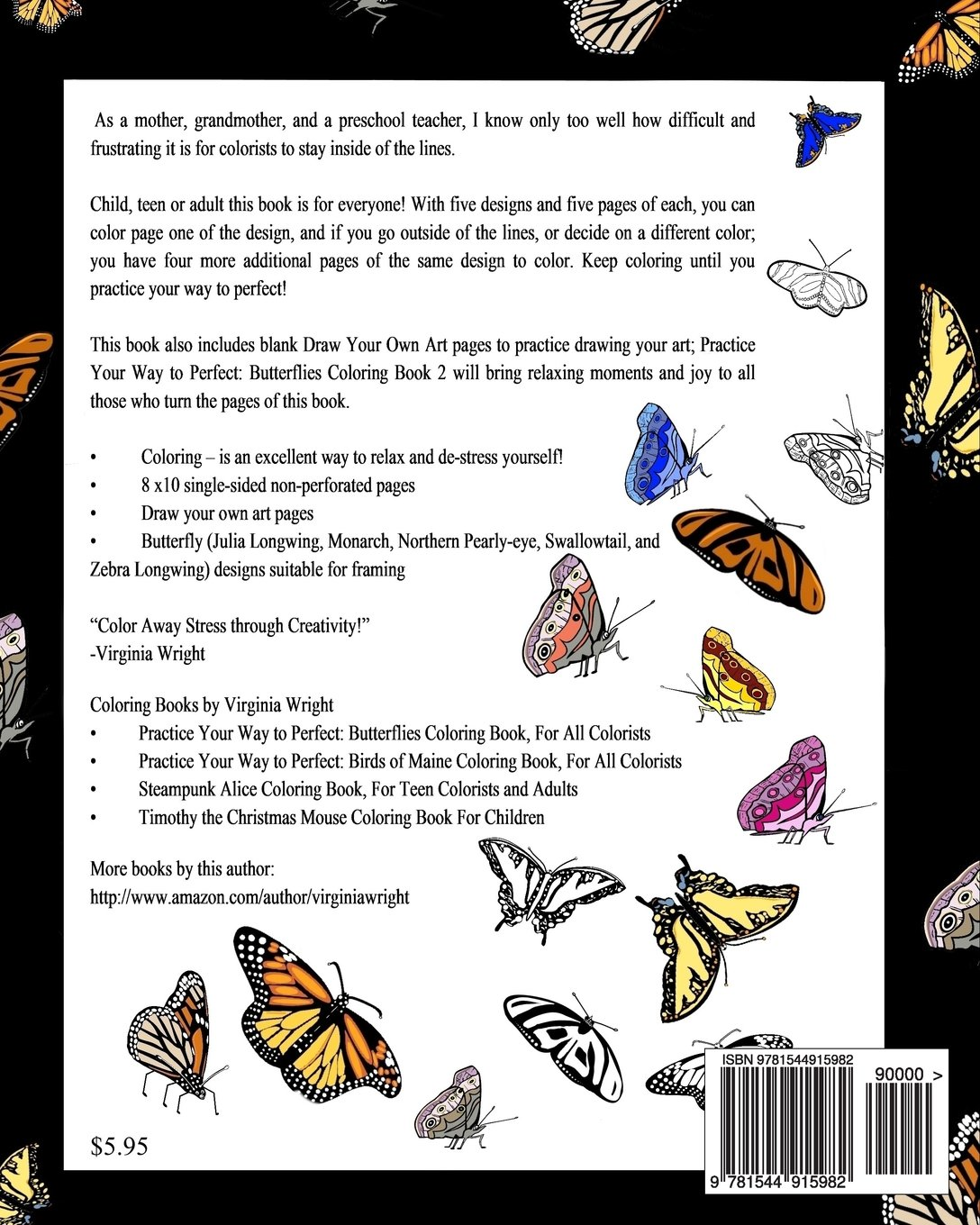 Practice Your Way to Perfect: Butterflies Coloring Book 2: Virginia ...