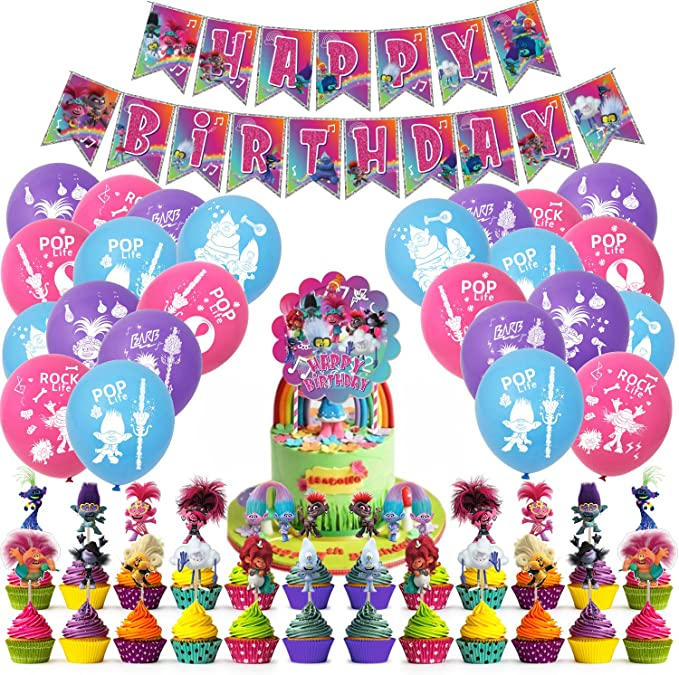 Amazon.com: Nelton Birthday Party Supplies For Trolls World Tour Includes Banner - Cake Topper - 24 Cupcake Toppers - 22 Balloons: Toys & Games