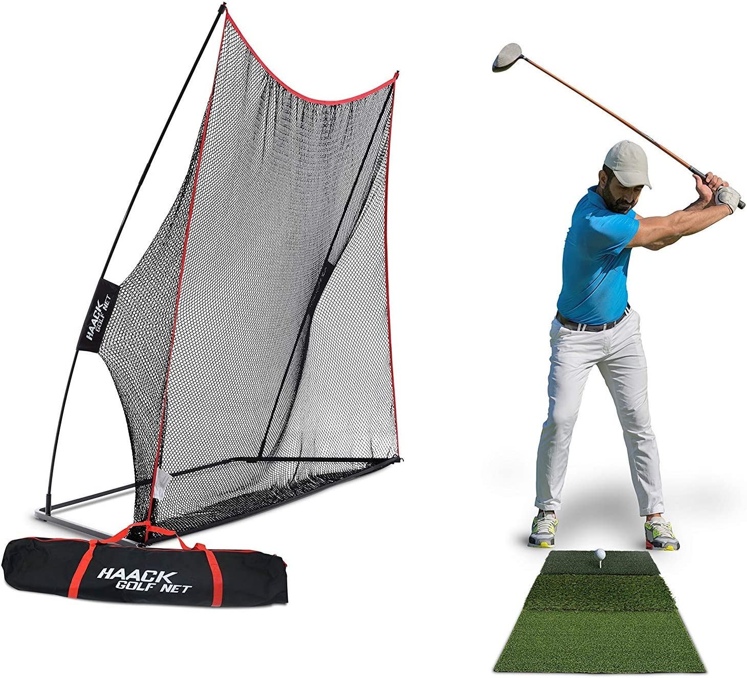 Rukket 3pc Golf Bundle 10x7ft Haack Golf Net Tri Turf Hitting Mat Carry Bag Practice Driving Indoor and Outdoor Golfing at Home Swing Training Aids by SEC Coach Chris Haack