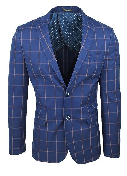 sito affidabile ca967 6d5db Giacca blazer uomo sartoriale blu quadri casual elegante 100 ...