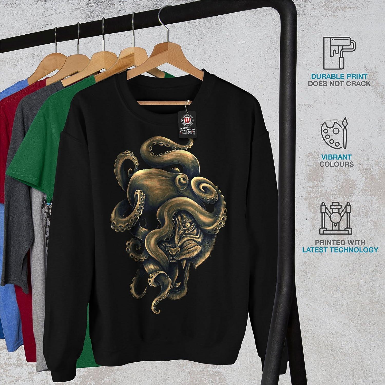 wellcoda Octopus Tiger Face Animal Mens Sweatshirt Casual Jumper