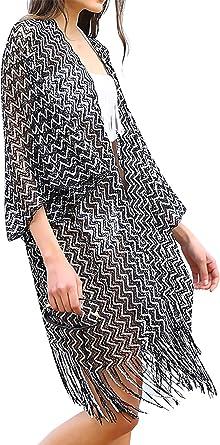 Women Oversize Mesh Sheer Kimono Polka Dot Beach Swim  Cover Up Coat Jacket Tops