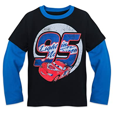 Amazon.com  Disney Lightning McQueen Long Sleeve Shirt Kids Blue ... d1f57c546