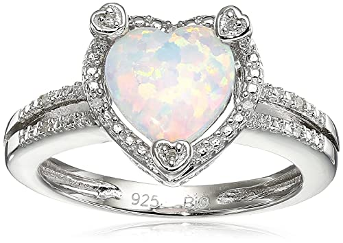 Lavari – .90 Ct Heart White Opal Diamond Accent 925 Sterling Silver Ring