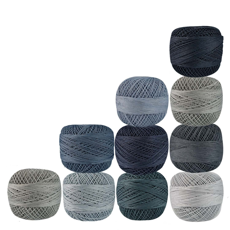 Lot of 10 Pcs Shades of Gray Cotton Crochet Thread Knitting Cross Stitch Tatting Doilies Skeins Lacey Craft Yarn