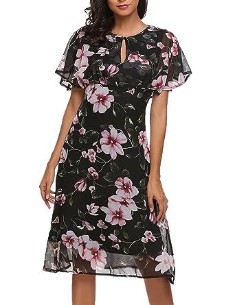 fafdfeb9f14be5 Meaneor Damen Elegant Chiffonkleid Strandkleid Blumenkleid Abendkleid mit Blumen  Muster Knielang Festlich