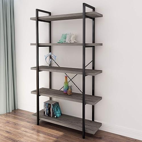 45MinST 5-Tier Vintage Industrial Style Bookcase/Metal and Wood Bookshelf Furniture