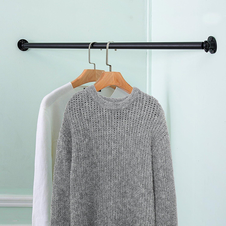 Matt Schwarz Wand montiert Metall Ecke Kleidung Aufh/ängen Bar Garment Rack