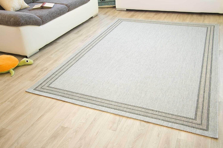 In- und Outdoor Teppich Gotland Design Bordüre Linien Webteppich Gut Siegel, Größe  200x290 cm