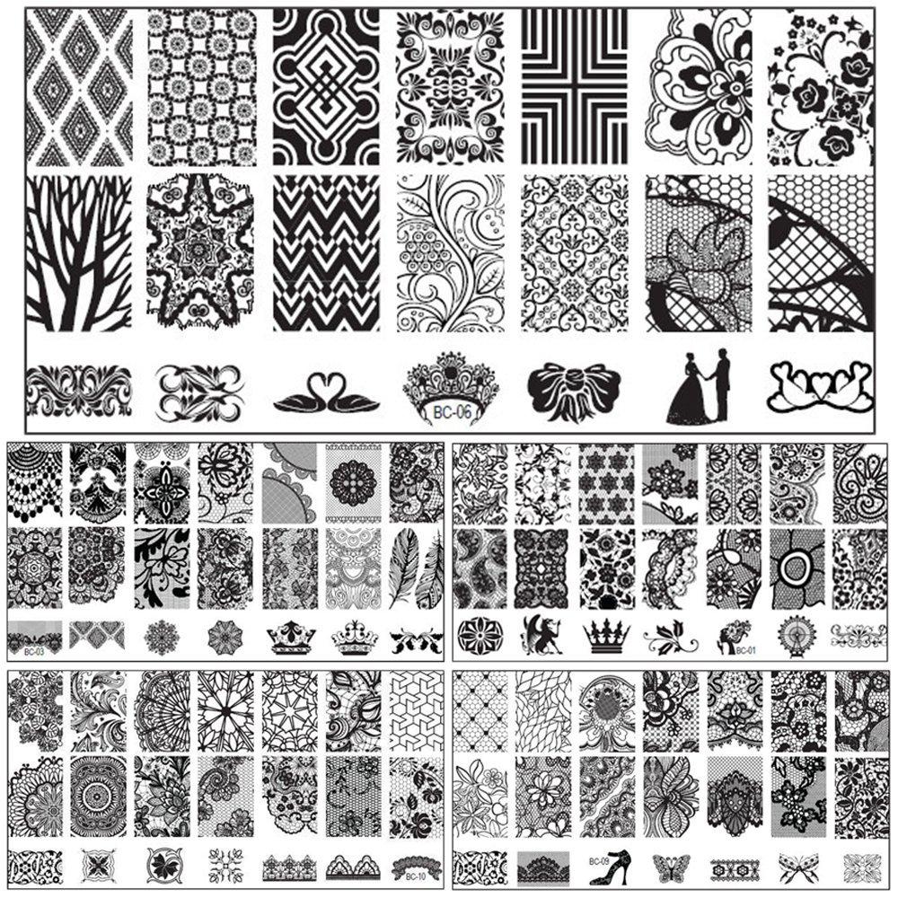 Bluelans® 10 x Nagel Kunst DIY Nagelstempel Nagel Stempel, der Bild Platten Druck Nagel Kunst Schablone