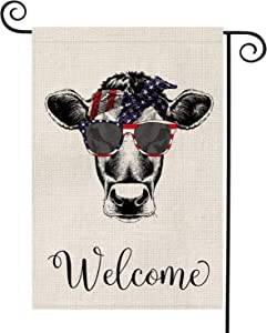 AVOIN Welcome Quote Heifer Cow USA Garden Flag Vertical Double Sided Patriotic Strip and Star American Flag, 4th of July Memorial Day Independence Day Burlap Yard Outdoor Decoration 12.5 x 18 Inch