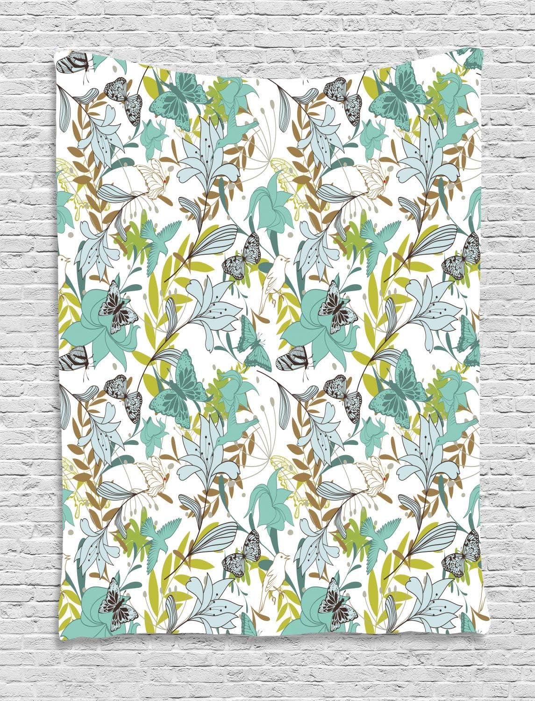 ABAKUHAUS Floral Tapiz de Pared, Pájaros De Vuelo De Las Mariposas, para el Dormitorio Apto Lavadora y Secadora Estampado Digital, 150 x 200 cm, Espuma De Mar Amarillo Verde Caramelo