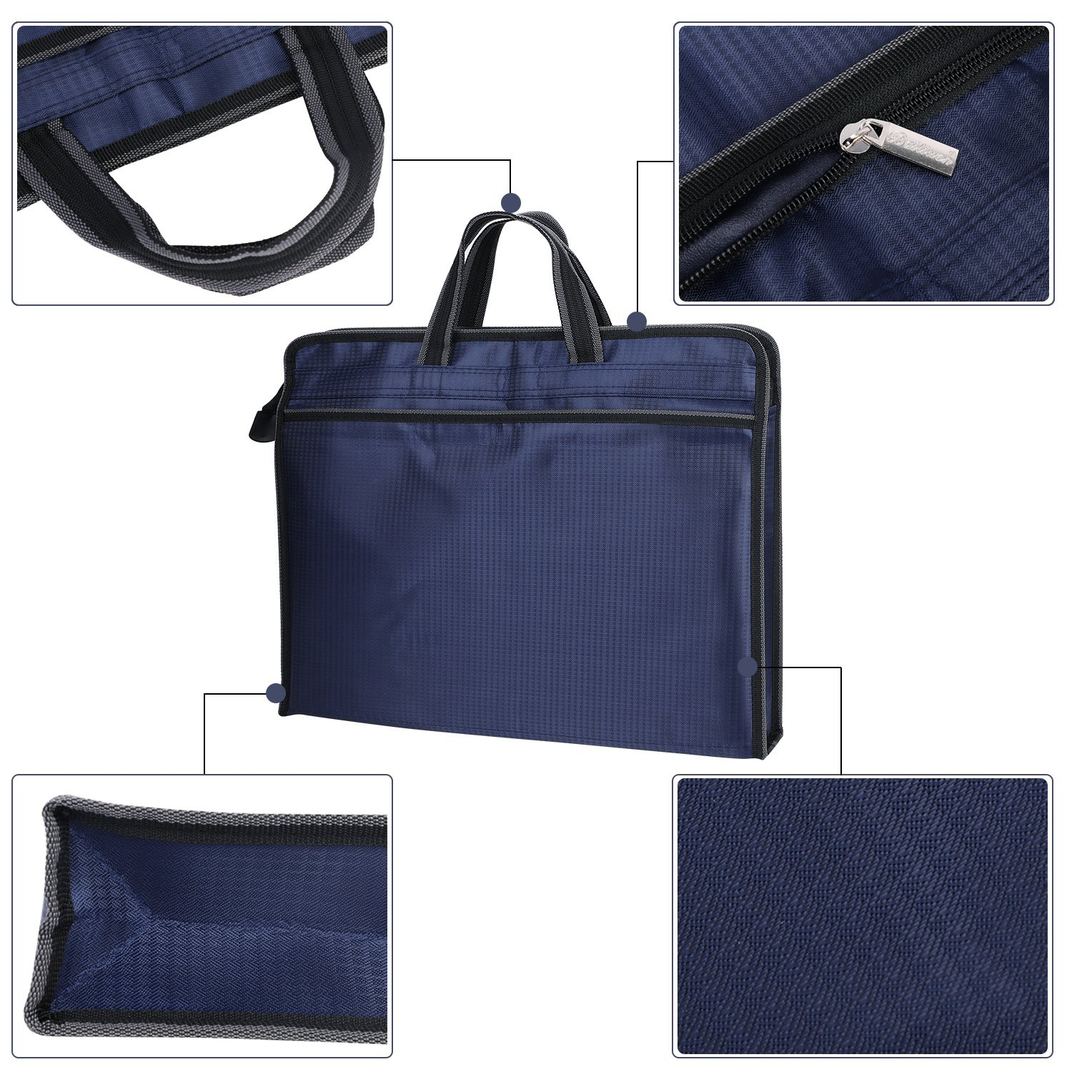 Travel Portable Briefcase, Multi-functional Zipper Business File Organizer Holder Document Bag Handbag Messenger Tote Bag with 2 Compartments for Unisex by ITODA (Image #4)