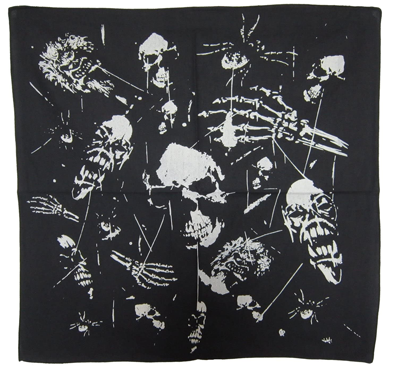 Ghostly Skulls Scary Spiders Bones Biker Rocker Goth Bandanna Neck Head Scarf