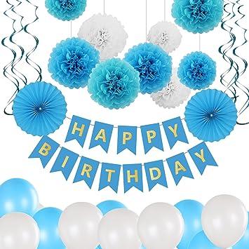 Bliqniq Party Deco Birthday Kit, 43pcs Decoración Feliz CUMPLEAÑOS Banner Garlands Pennants Kit Pompom Globo de látex y Papel de Seda Ball Hollowed ...