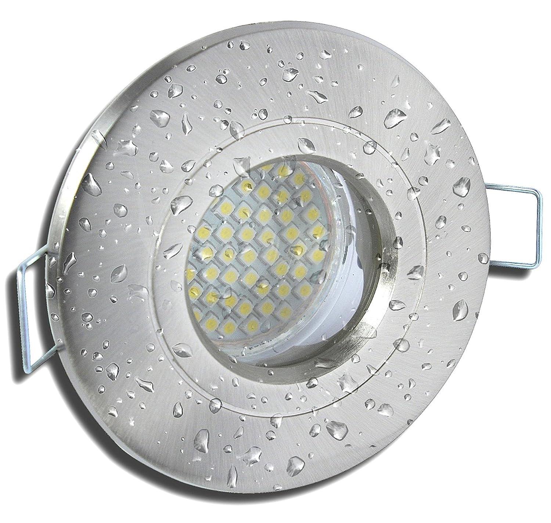 9 Stück IP54 SMD LED Bad Einbaustrahler Rain 12 Volt 3 Watt Edelstahl geb.   Neutralweiß