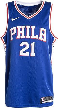 LAMBO Mens Basketball Jersey Philadelphia 76ers NO.21 Joel Embiid 2019-2020 Season Basketball Swingman Jersey for Men Sleeveless Sports Shirts White,M