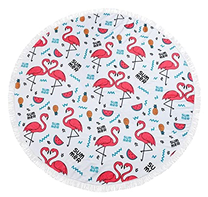 edc9690d9e692 Image Unavailable. Image not available for. Color: TopSZ Thick Flamingo  Round Beach Towel Large ...