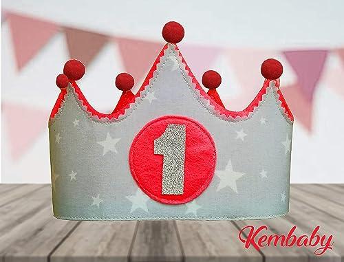 Corona primer cumpleaños 1 año para bebes niños y niñas gris ...