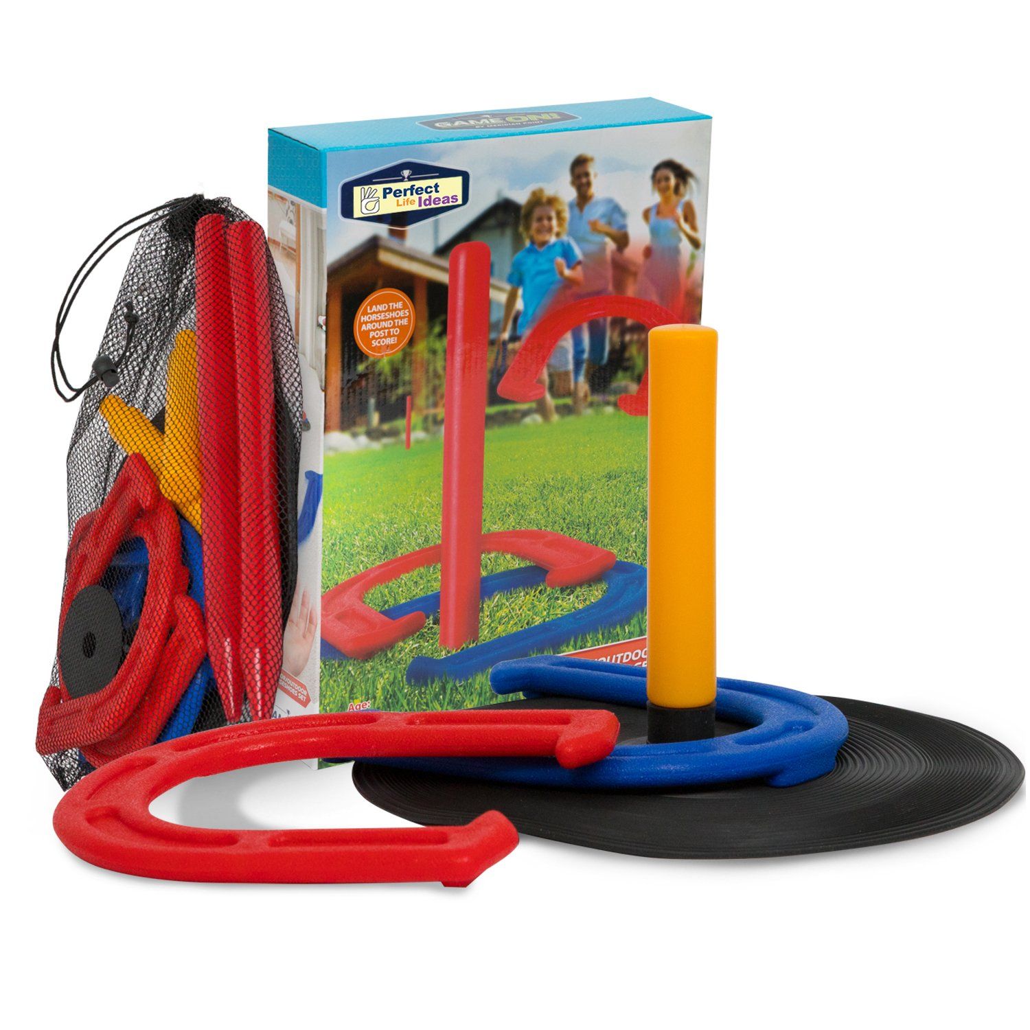 Horseshoes Game as Outdoor Games for Family - Horseshoe Set Best Yard Camping Lawn Beach Games Perfect for Adults, Kids or Seniors by Perfect Life Ideas