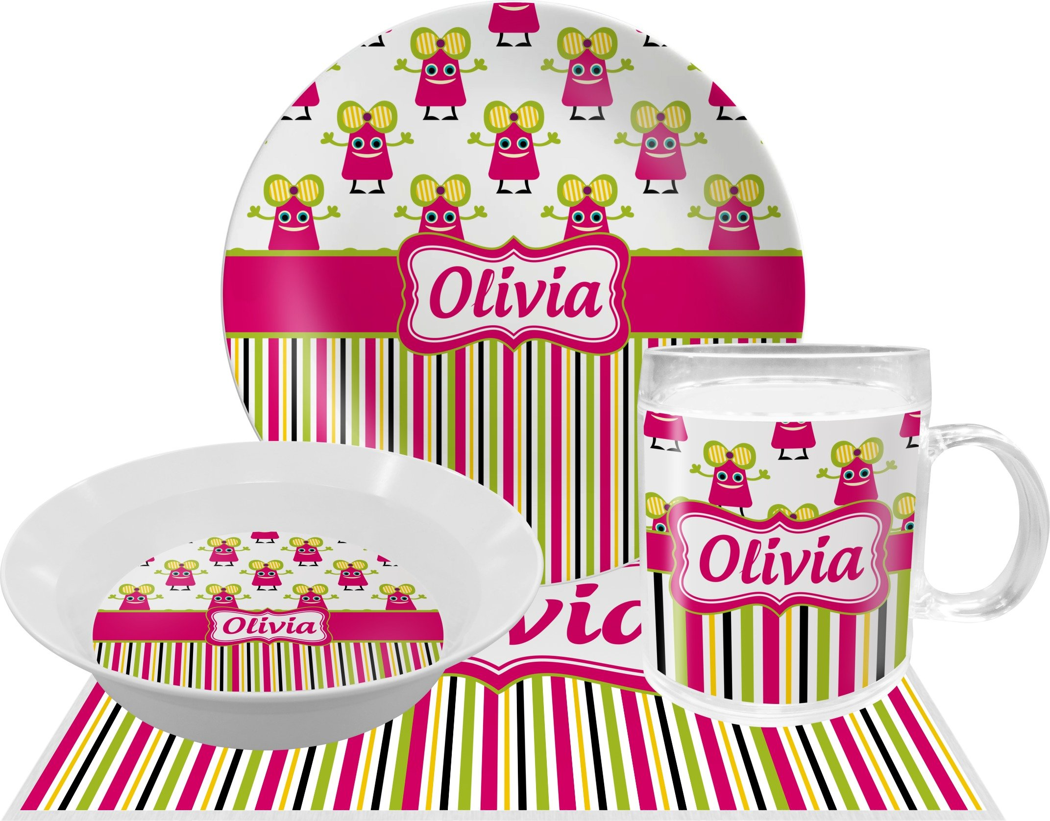 Pink Monsters & Stripes Dinner Set - 4 Pc (Personalized) by RNK Shops