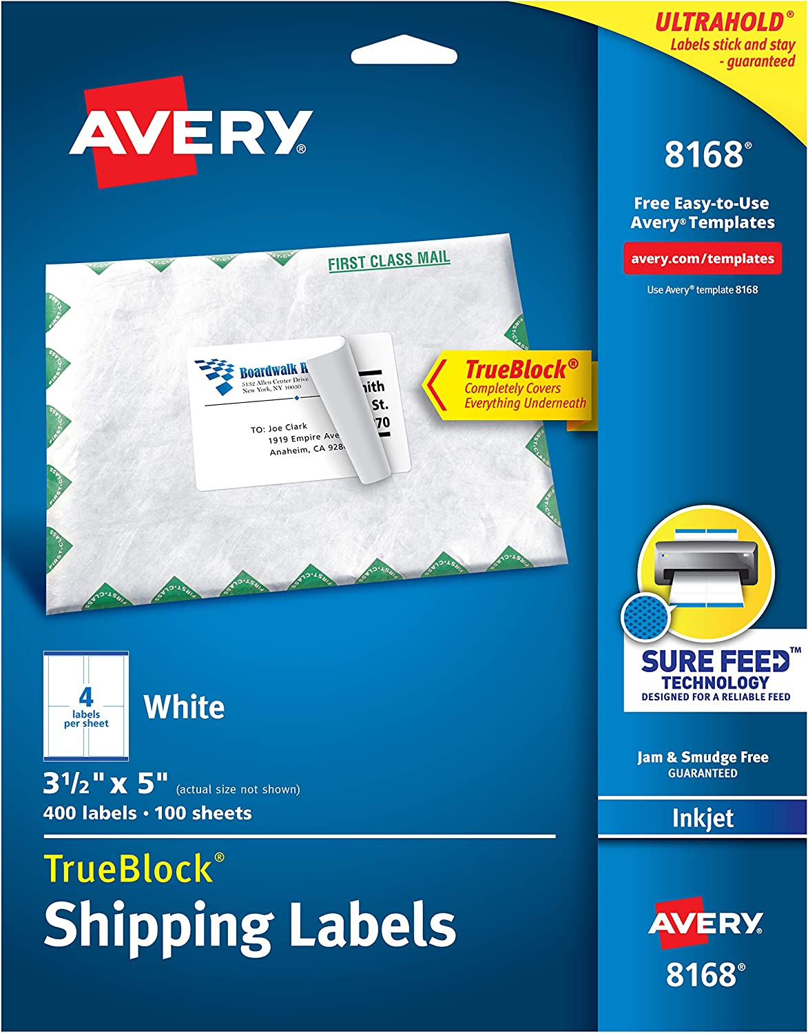 Avery Shipping Address Labels, Inkjet Printers, 100 Labels, 3-1/2 x 5, Permanent Adhesive, TrueBlock (8168), White