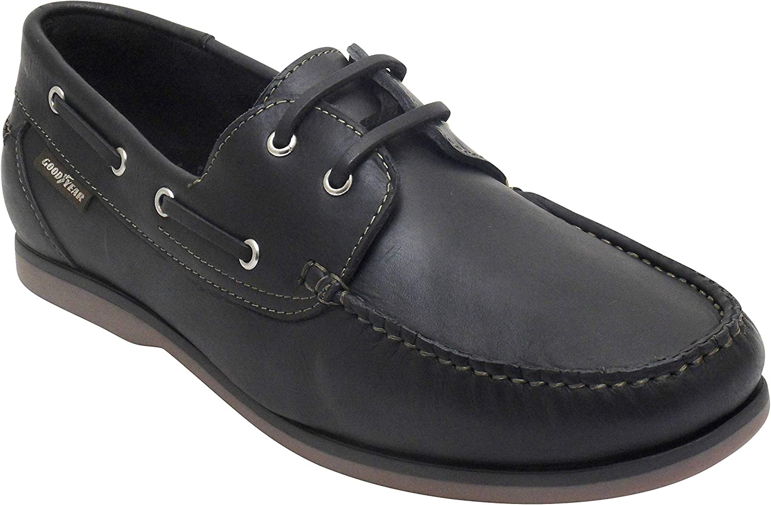 NFF Goodyear Leather Boat Shoes Black