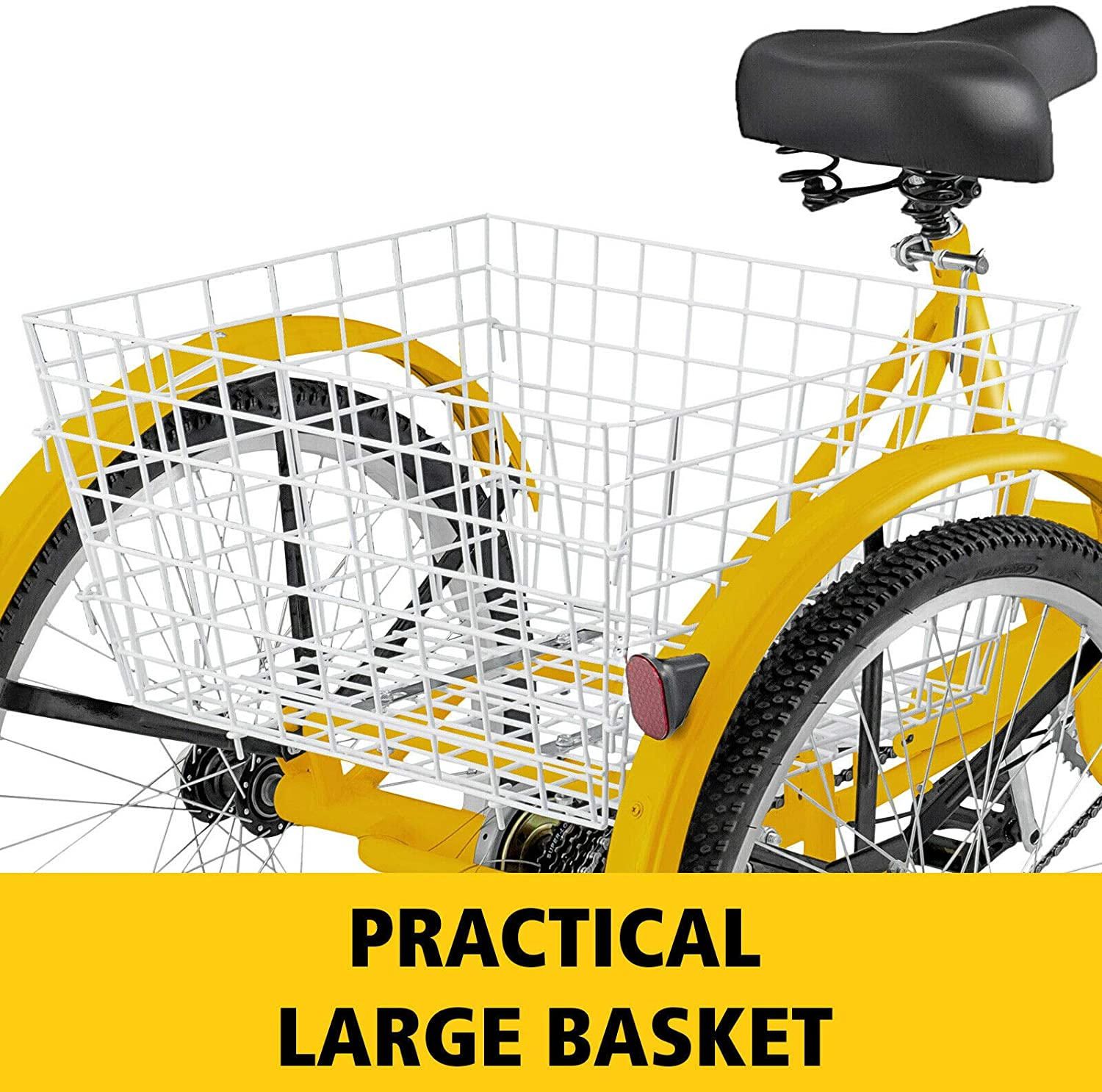 Super Safety Trike Cycling w//Extra Large Shopping Basket Lock Adjustable Black Col Mandycng 24 Inch Wheel Elder Tricycle Durable /& Reliable 3-Wheel 1 Speed Bicycle Adult Excercise Max Loads 330 Lbs