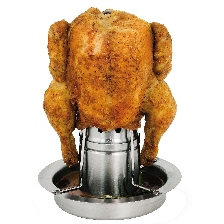 bremermann Chicken Griller Stainless Steel Chicken Roaster with Aroma Container, Chicken Holder