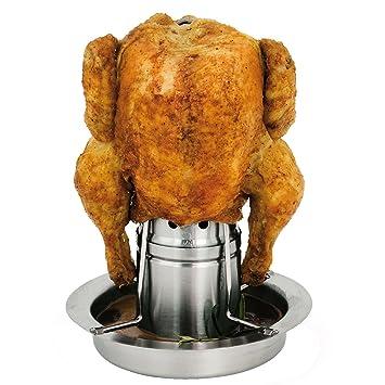 bremermann Soporte para pollo asado con aromatizador, asador de pollos, soporte para pollos de acero inoxidable: Amazon.es: Jardín