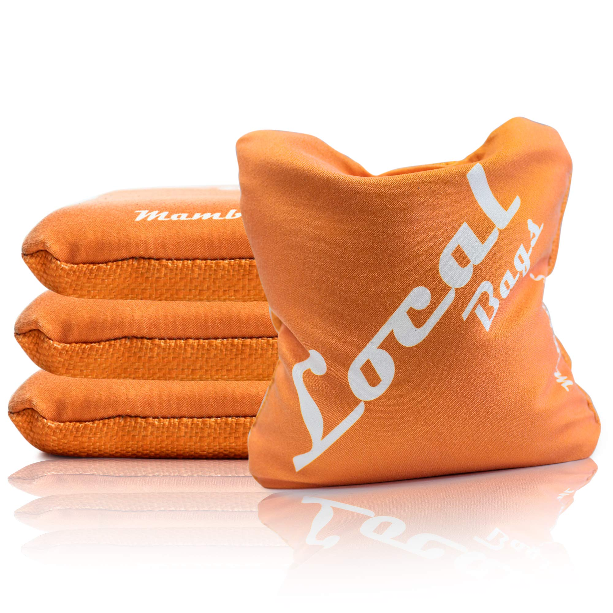 Local Bags Cornhole - Mamba S'' Series - Set of 4 Bags- ACL Approved Resin Filled - Double Sided - Smooth Side/Slick Side Made in USA (Orange) by Local Bags