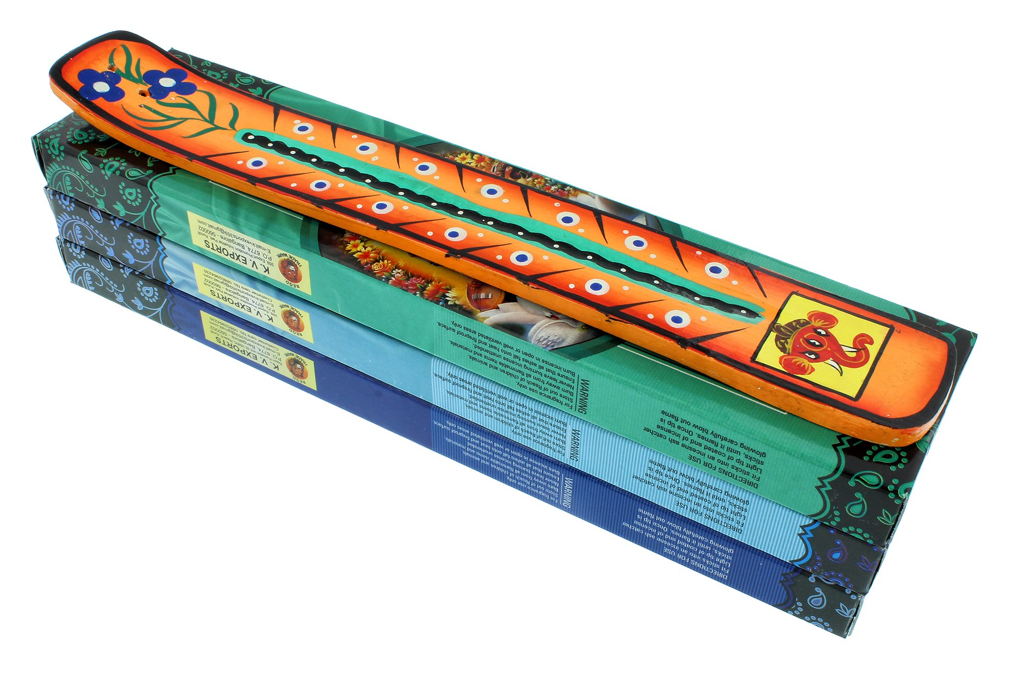 Zen Mood Incense Gift Pack - 3 Boxes of Assorted Indian God Incense and 1 Hand Painted Incense Holder with Ganesh Design - Orange