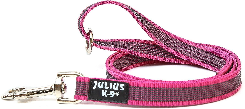 Julius-K9 216GM-PN-1.2HS Color & Gray Correa de Perro del Estupendo-Apretón con Asa y Aro Tórico, 20 mm x 1.2 m, Rosa y Gris