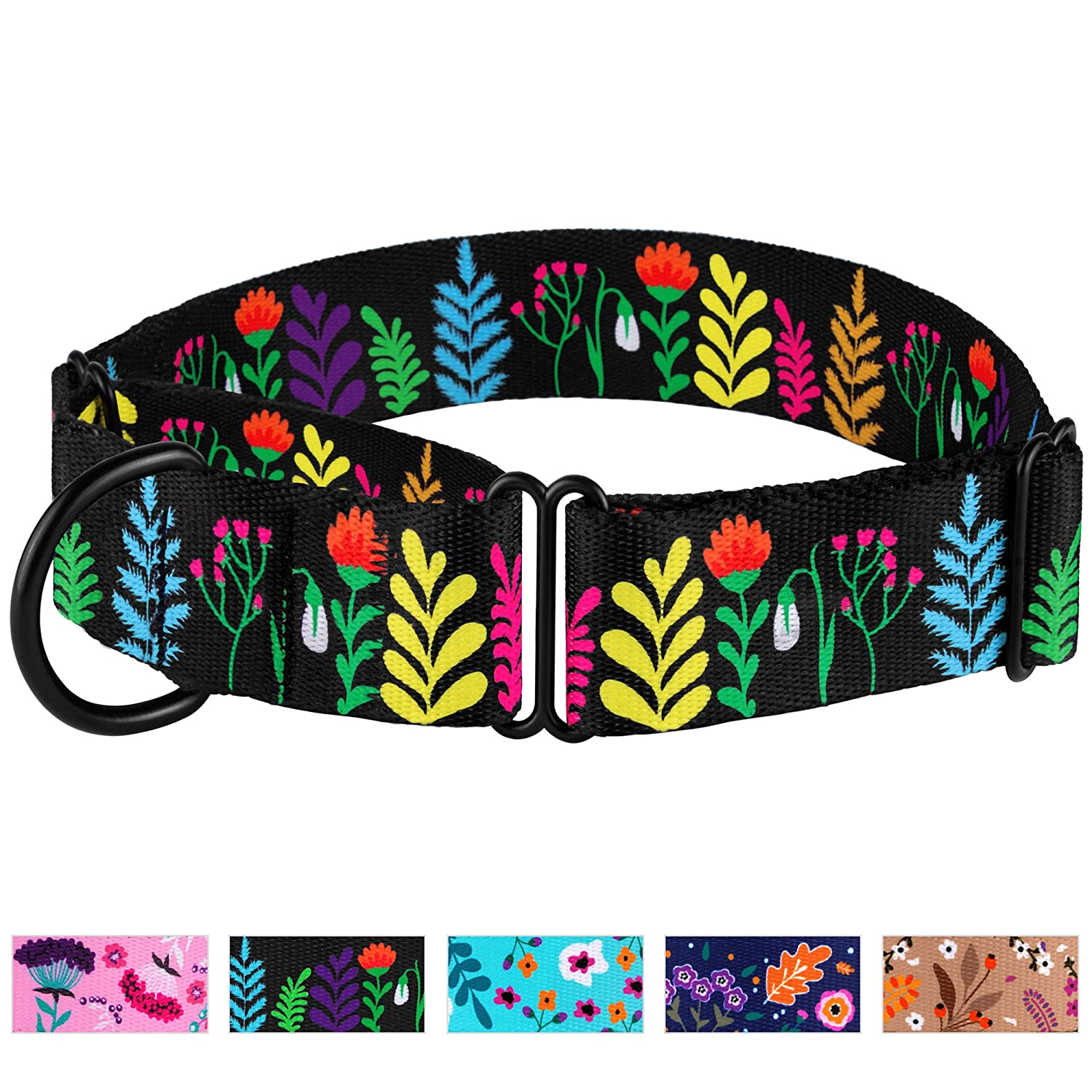 CollarDirect Martingale Collars for Dogs Heavy Duty Floral Pattern Female Safety Nylon Training Wide Collar Flower Design Large Medium