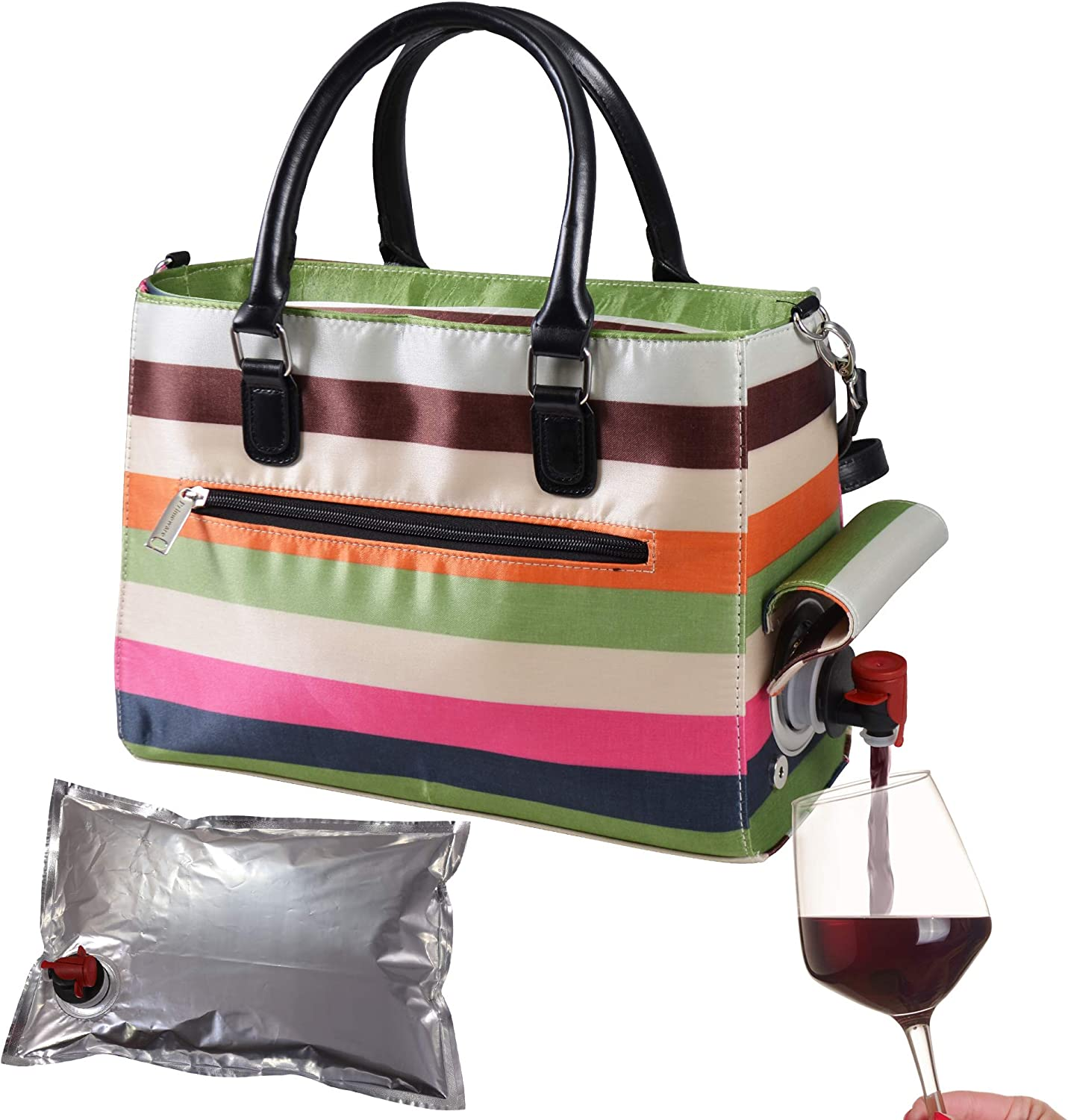 Primeware Insulated Drink Purse w/ 3L Bladder Bag | Thermal Hot and Cold Storage | Portable Drinking Dispenser for Wine, Cocktails, Beer, Alcohol | PU Leather Finish (Stripe)
