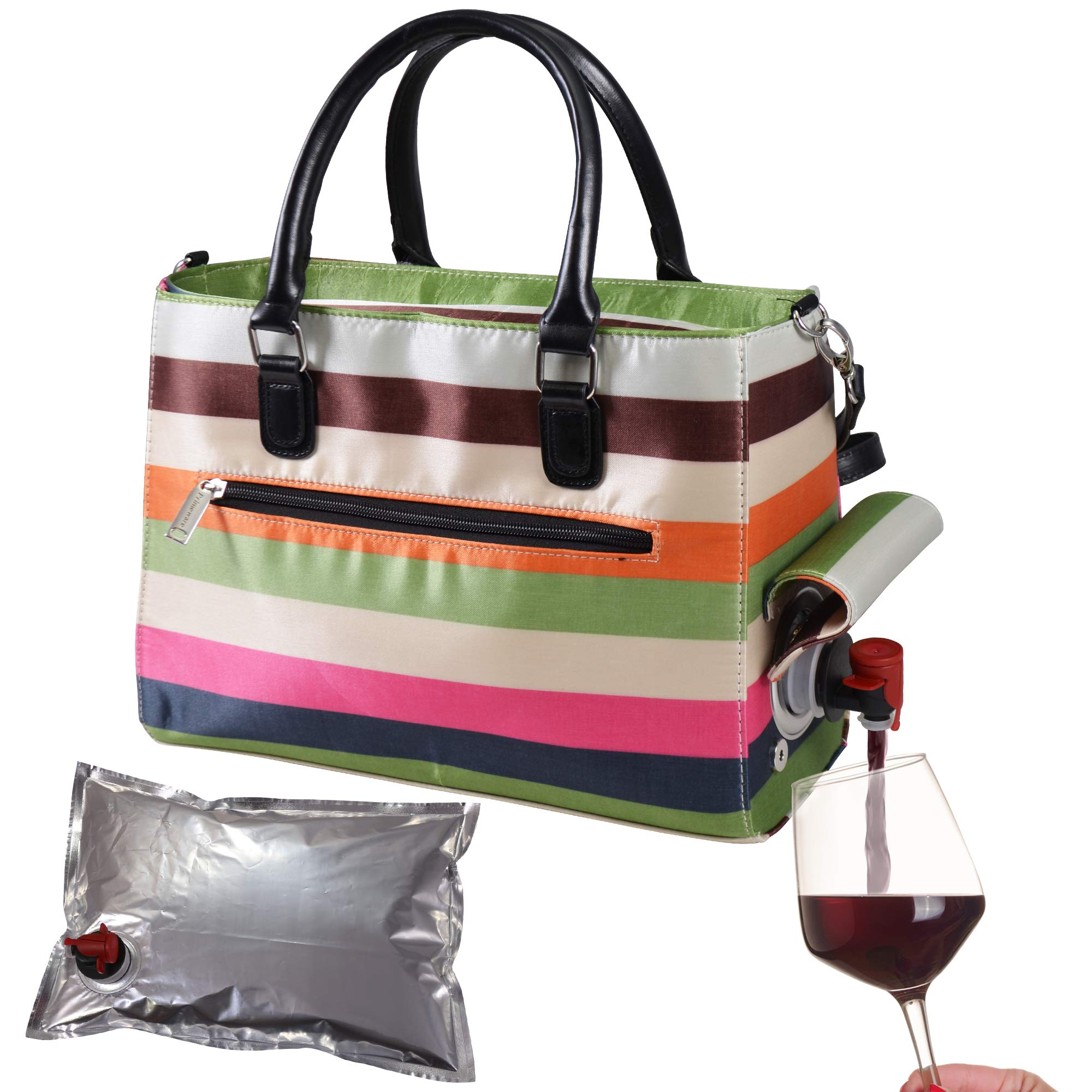 Primeware Insulated Drink Purse w/ 3L Bladder Bag   Thermal Hot and Cold Storage   Portable Drinking Dispenser for Wine, Cocktails, Beer, Alcohol   PU Leather Finish (Stripe)