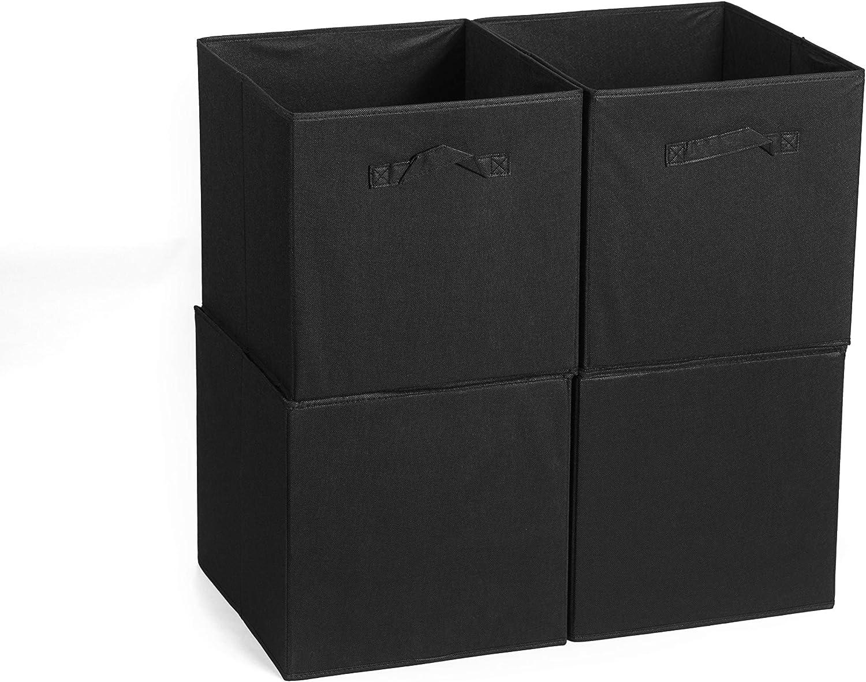 Foldable Cloth Storage Cube Basket Bins Organizer - Great for Nursery, Playroom, Closet, Home Organization (4pcs-Black, 13x15x13)