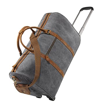 76a2f895a1b0 Kattee Rolling Duffle Bag with Wheels Canvas Travel Luggage Duffel Bag 50L  (Light Gray)