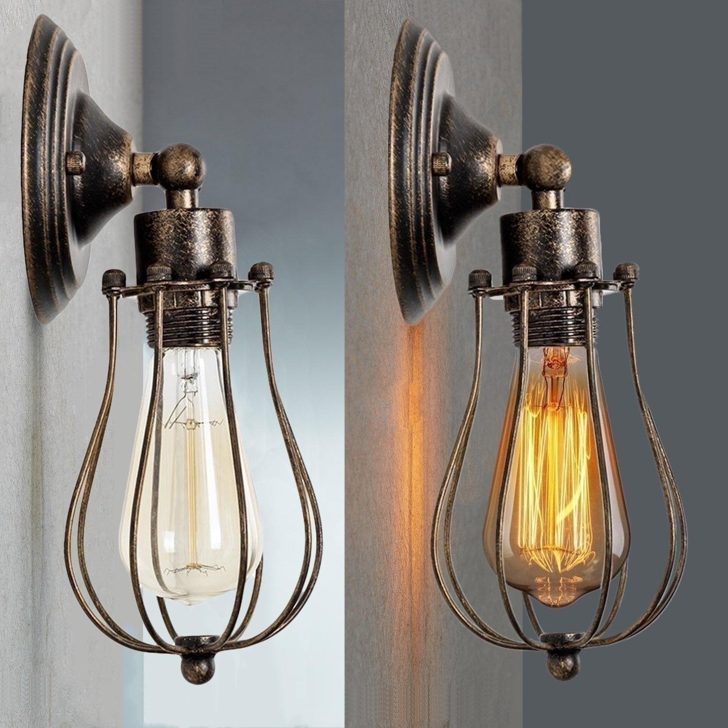 CMYK Vintage Wall Light Industrial Lighting Adjustable Socket Rustic Sconces Wire Metal Cage Wall Lamp Indoor Home Retro Lights Fixture (Single Lamp-Base Painted with Oil Rubbed Bronze)