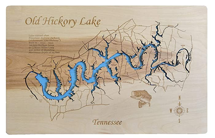 Old Hickory Lake Topographic Map.Amazon Com Old Hickory Lake Tennessee Standout Wood Map Wall