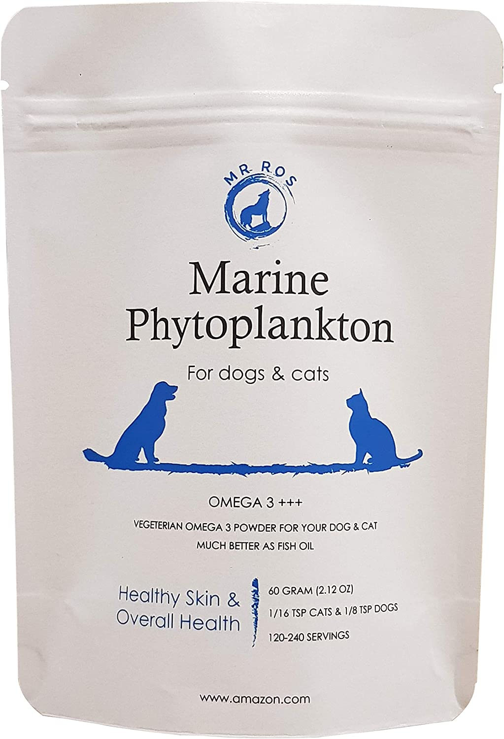 Marine Phytoplankton Omega 3 EPA Non Fish Oil Vegetarian Superfood Powder for Dogs Cats for Healthy Skin Overall Health