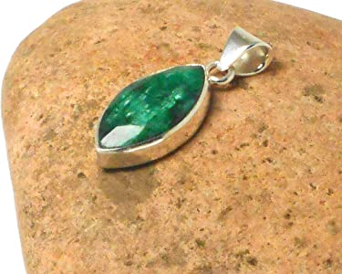 Green Marquise shaped EMERALD Sterling Silver 925 Gemstone Pendant