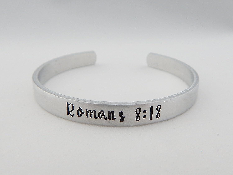Present Suffering Scripture Future Glory Bible Verse Romans 8:18 Hand Stamped Bracelet Adjustable Cuff