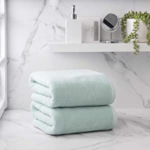 Welhome Franklin Premium 100% Cotton 2 Piece Bath Sheets   Aqua   Popcorn Textured   Highly Absorbent   Durable   Low Lint   Hotel & Spa Bathroom Towels   600 GSM   Machine Washable