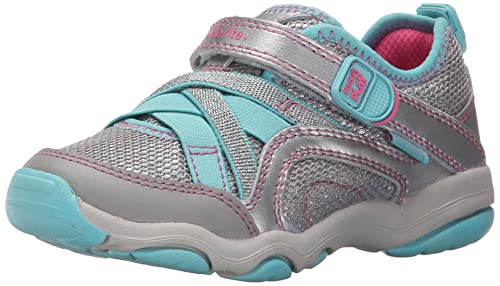 Stride Rite Made 2 Play Serena Sneaker, Silver/Blue, 1 M US Little