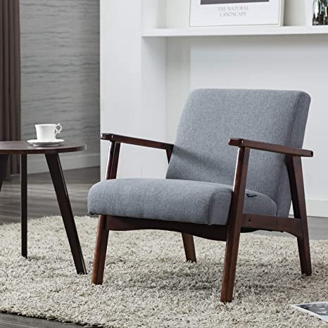 Artechworks Mid-Century Retro Modern Fabric Accent Upholstered Wooden  Lounge Arm Chair for Living Room Bedroom Apartment Grey