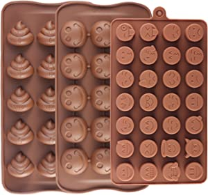 Mujiang 28-Cavity Emoji Poop Emoticon Cake Moulds Smiley Silicone Candy Baking Chocolate Molds Pack of 3