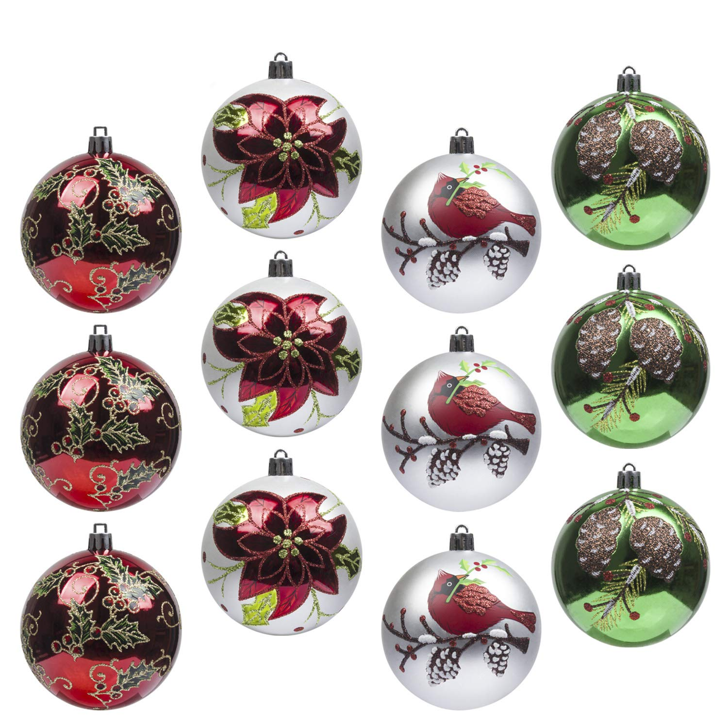 Christmas Baubles.Art Beauty Christmas Baubles 12pcs Shatterproof Xmas Tree Decoration Ornaments 80mm Handcrafted For Christmas Party Wedding Decor 80mm Woodland