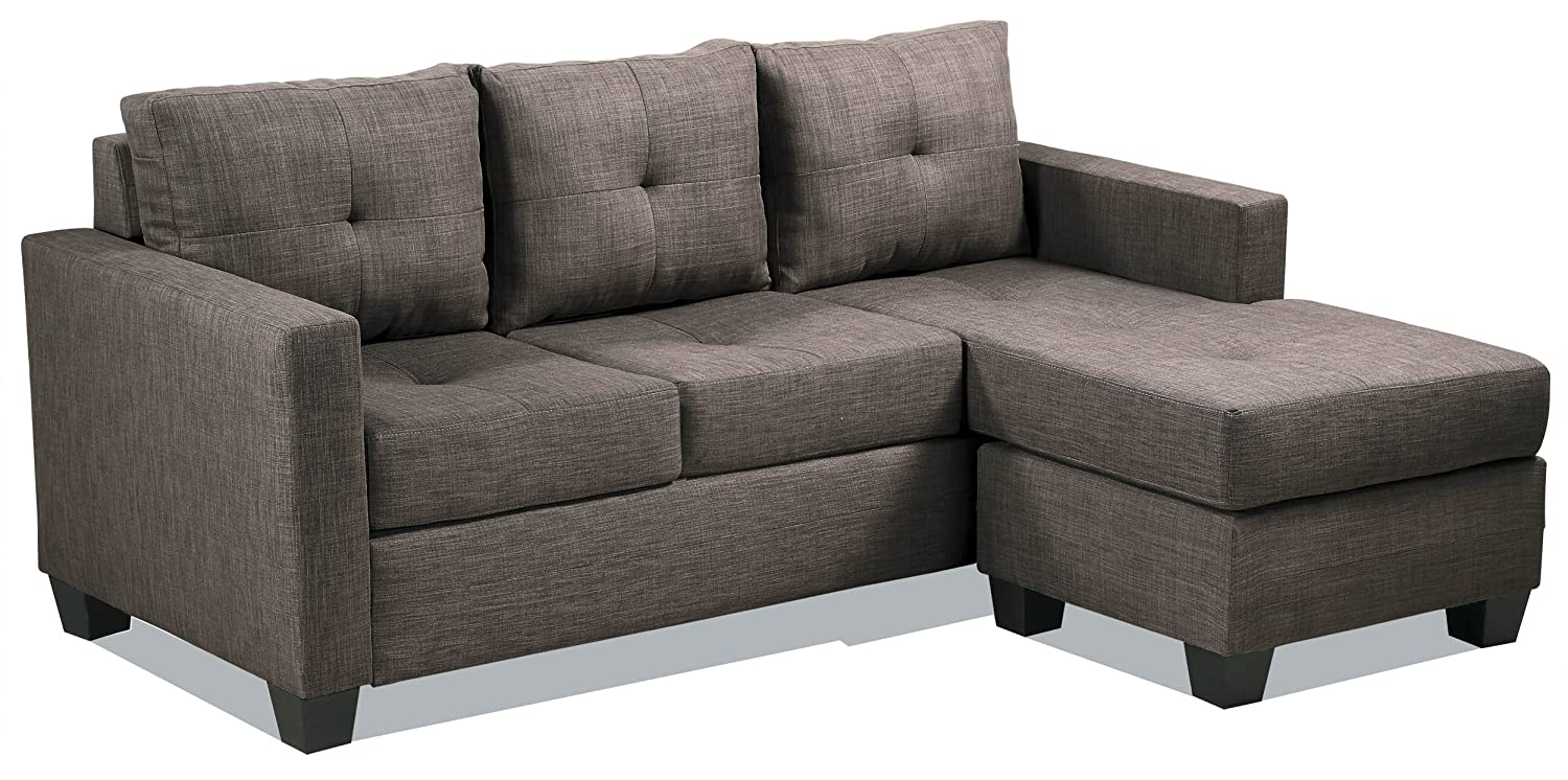 Amazon com homelegance phelps contemporary tufted sectional sofa with reversible chaise grayish brown kitchen dining