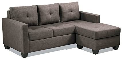 Nice Homelegance Phelps Contemporary Tufted Sectional Sofa With Reversible  Chaise, Grayish Brown